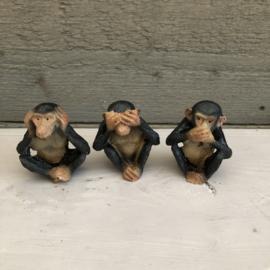 Polyester Horen, Zien en Zwijgen Chimpansee aap H 5 cm