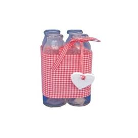 Glazen flessen in roodwit geruite houder Appletree