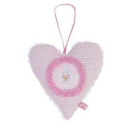 Stoffen decoratie hart roze geruit Liek & Zo