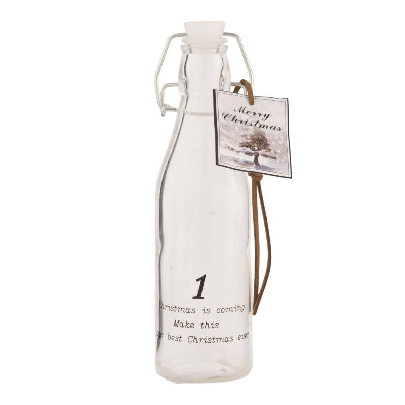 Glazen fles met tekst Clayre & Eef