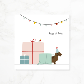 Wenskaart teckel Frits - Happy birthday