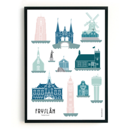 Poster Fryslân in kleur | Friesland | 11 steden