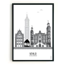 Poster Venlo zwart-wit-grijs