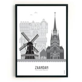 Poster Zaandam zwart-wit-grijs