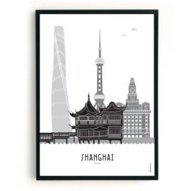 Poster Shanghai zwart-wit-grijs