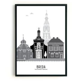 Poster Breda zwart-wit-grijs