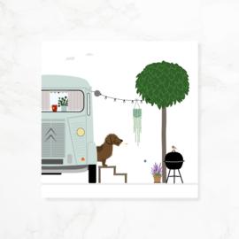Wenskaart teckel Frits - Happy Camper