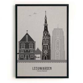 Leeuwarden | A3 Poster - grijs karton SALE