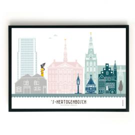 Poster Den Bosch in kleur - liggend