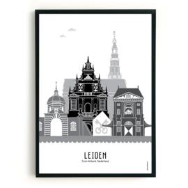 Poster Leiden  zwart-wit-grijs