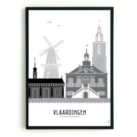 Poster Vlaardingen zwart-wit-grijs
