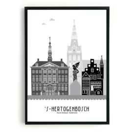 Poster Den Bosch zwart-wit-grijs
