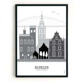 Poster Nijmegen zwart-wit-grijs