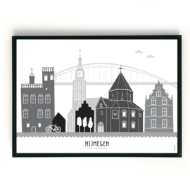 Poster Nijmegen - zwart-wit-grijs - liggend