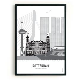 Poster Rotterdam - cruiseschip zwart-wit-grijs