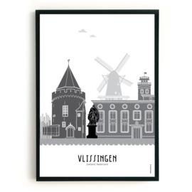 Poster Vlissingen zwart-wit-grijs