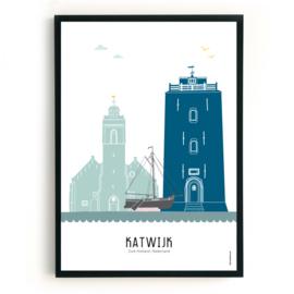 Poster Katwijk aan Zee in kleur