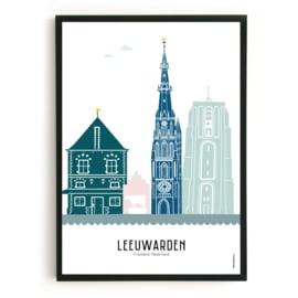Poster Leeuwarden in kleur