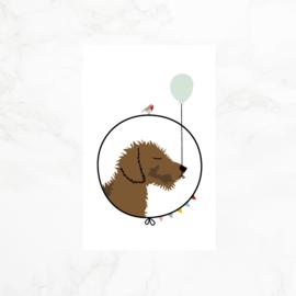 Minikaartje | Gift tag | teckel Frits | Feest