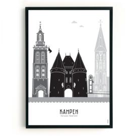 Poster Kampen zwart-wit-grijs