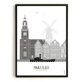 Poster Maassluis  zwart-wit-grijs