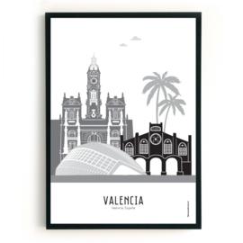 Poster Valencia zwart-wit-grijs