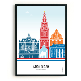 Poster Groningen rood-wit-blauw + oranje
