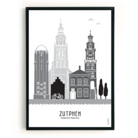 Poster Zutphen zwart-wit-grijs