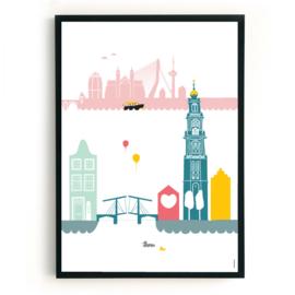Poster Amsterdam - Maastricht + Rotterdam
