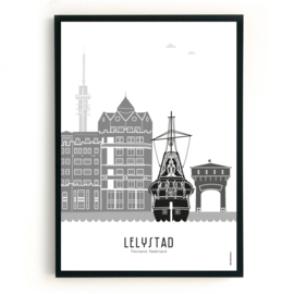 Poster Lelystad zwart-wit-grijs