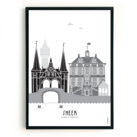 Poster Sneek zwart-wit-grijs