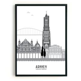 Poster Arnhem  zwart-wit-grijs