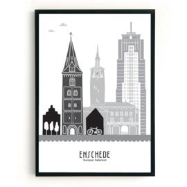 Poster Enschede zwart-wit-grijs