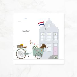 Wenskaart teckel Frits - Groetjes! (bakfiets)