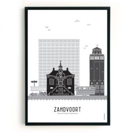 Poster Zandvoort zwart-wit-grijs