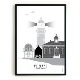 Poster Vlieland zwart-wit-grijs