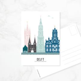 Ansichtkaart Delft - kleur