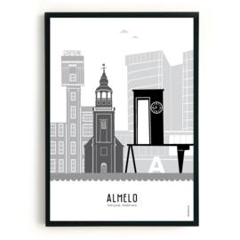 Poster Almelo zwart-wit-grijs
