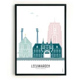 Poster Leeuwarden met Blokhuispoort en Stadionlampen - kleur