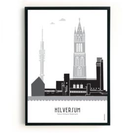 Poster Hilversum zwart-wit-grijs
