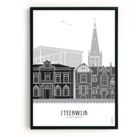 Poster Steenwijk zwart-wit-grijs