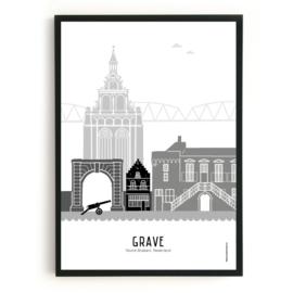 Poster Grave zwart-wit-grijs