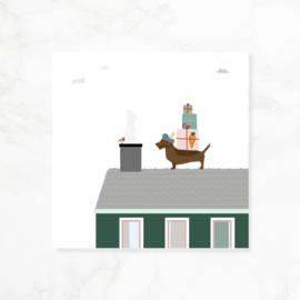 Wenskaart teckel Frits SINT - Het dak op!