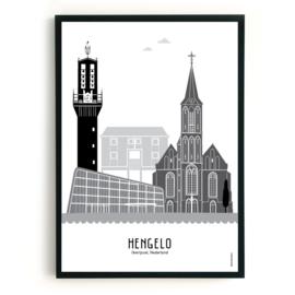 Poster Hengelo  zwart-wit-grijs