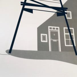 Schiermonnikoog   50x70 cm Poster  - zwart-wit-grijs SALE