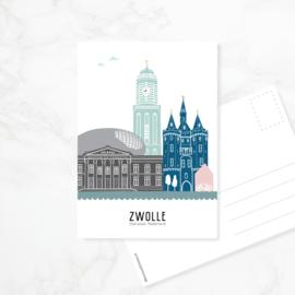 Ansichtkaart Zwolle - kleur
