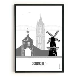 Poster Gorinchem zwart-wit-grijs