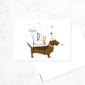 Ansichtkaart Teckel 'Happy B-Day'