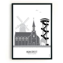 Poster Nunspeet zwart-wit-grijs