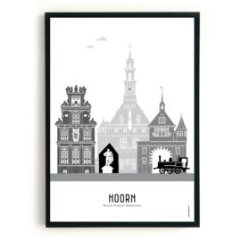 Poster Hoorn zwart-wit-grijs